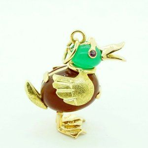 Estate 18K Yellow Gold Duck Charm Ruby Pendant